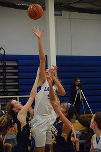 Lakeview's Joslyn Brennan (44) scored 17 points, grabbed 12 rebounds and blocked three shots to lead the Huskies over Fraser, 34-33, in a MAC Blue Division girls basketball game on January 11, 2019. THE MACOMB DAILY PHOTO GALLERY BY CHUCK PLEINESS