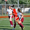 Madelyn Kay (5) of Roseville heads the ball during the match between Roseville and Hamtramck on June 1, 2017.  (MIPrepZone photo gallery by David Dalton)