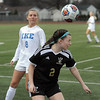 Julia Jones (2) of L'Anse Creuse North heads the ball during the match between L'Anse Creuse North and Eisenhower on March 27, 2017. (MIPrepZone photo gallery by David Dalton)