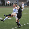 Jenna Pettke (8) of Eisenhower and Julia Jones (2) of L'Anse Creuse North battle for control of the ball during the match between L'Anse Creuse North and Eisenhower on March 27, 2017. (MIPrepZone photo gallery by David Dalton)