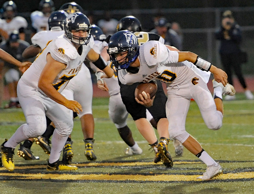 . Nicholas Benson (10) of Fraser on his way to a second quarter touch down during the match between L\'Anse Creuse North and Fraser on September 15, 2017. THE MACOMB DAILY PHOTO GALLERY BY DAVID DALTON