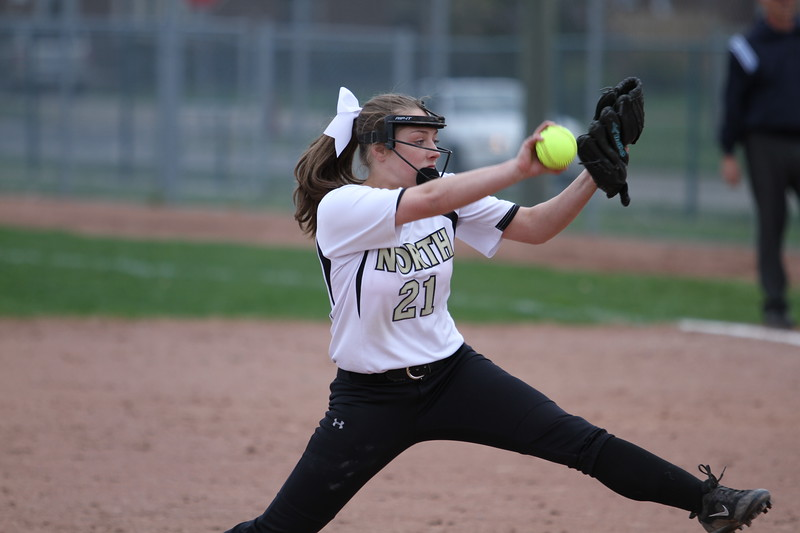Joanna Taylor scattered eight hits with two walks and four strikeouts to lead L'Anse Creuse North to an 8-4 win at Lakeview on Tuesday. (Photo by Bill Roose)
