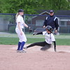 The Crusaders' Claire Kerpet steals second base on the fourth inning. The junior outfielder went 2-for-4 with three RBI in Tuesday's 8-4 win at Lakeview. (Photo by Bill Roose)