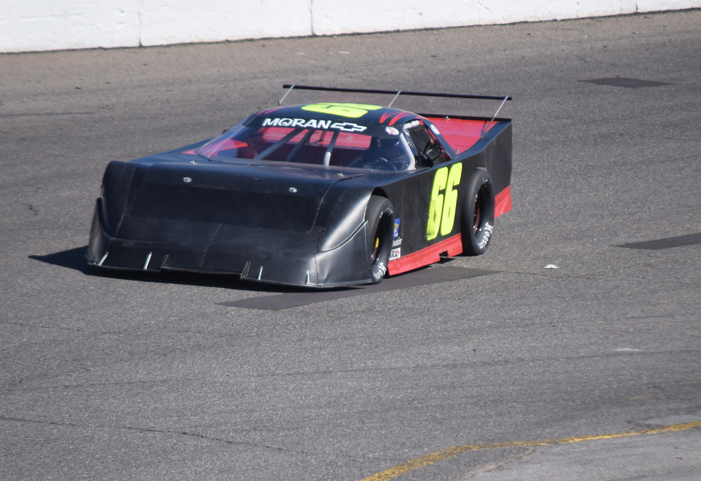 . Jeff Plumb, a graduate of Fraser High, takes a lap at Flat Rock Speedway.