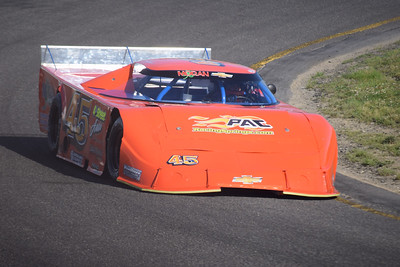 Frank Jiovani of Harrison Township drives his No. 45 Late Model through turn 1 at Flat Rock Speedway.
