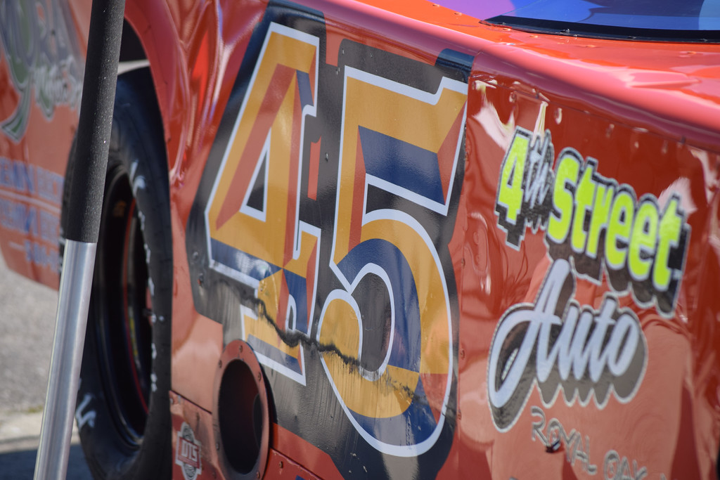 . The No. 45 Late Model driven by Harrison Township native Frank Jiovani.