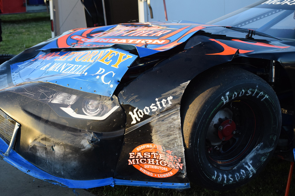 . The damaged car of Terry Bogusz sits in the pit area after a crash during the Late Model race at Flat Rock Speedway on Saturday night. Bogusz, a Shelby Township resident, was not injured.