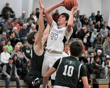 The Mustangs Ethan Bach sets the tone early with a basket. Lutheran North hosted Gabriel Richard gor a league contest on January 4th, 2019. Digital First Media photo gallery by George Spiteri.