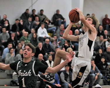 Guard Colin Moldenhauer goes up for a basket. Lutheran North hosted Gabriel Richard gor a league contest on January 4th, 2019. Digital First Media photo gallery by George Spiteri.