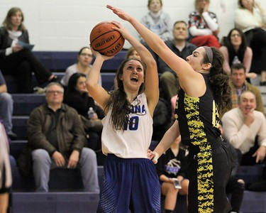 Regina's Kathleen Novak tries to get a shot past Alaina Capoccia of Lutheran North. Regina hosted Lutheran North on Febuary 1, 2018. THE MACOMB DAILY PHOTO GALLERY BY GEORGE SPITERI