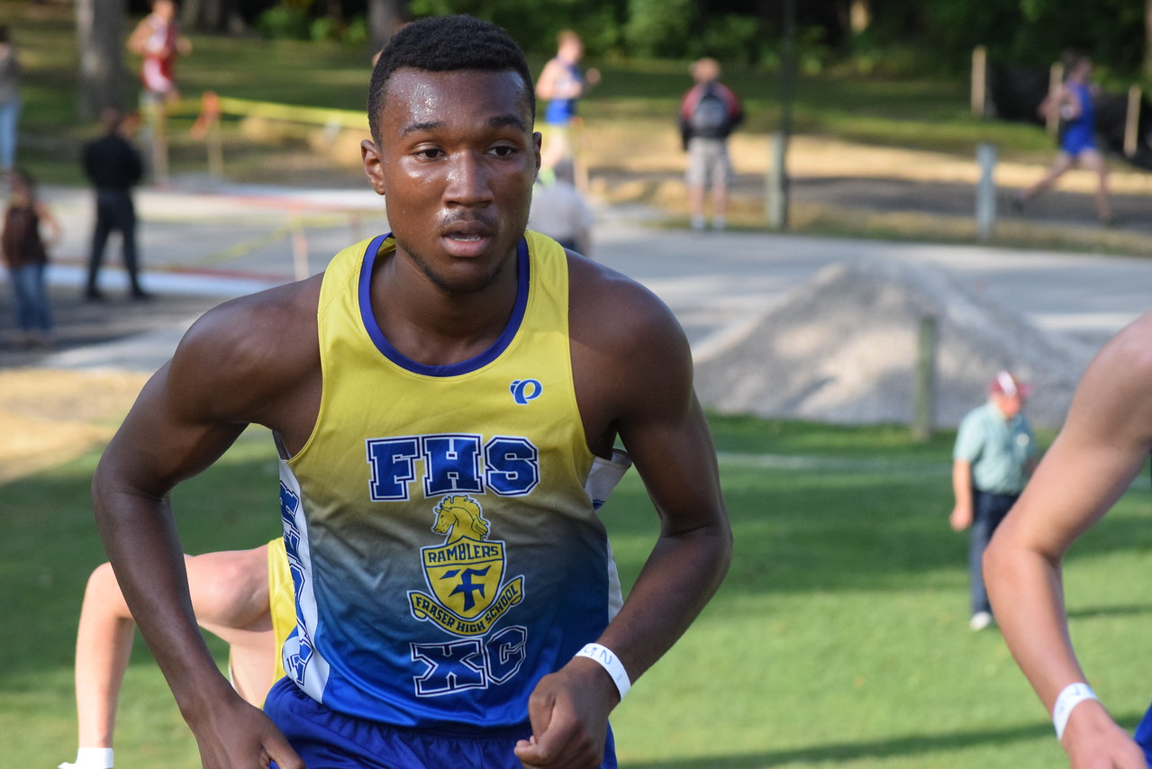 Jalen Smith of Fraser won the boys race. MAC Blue Division cross country teams ran their first jamboree of the season at Marysville Park on Sept. 12, 2017. THE MACOMB DAILY PHOTO GALLERY BY GEORGE POHLY