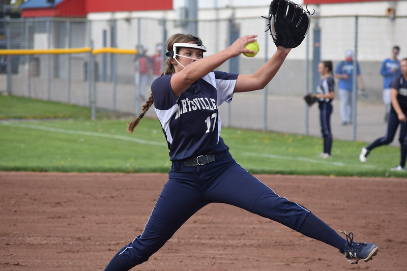 Marysville pitcher Paige Ameel threw a two-hit shutout in the Vikings' 5-0 victory over host Cousino Tuesday. (Macomb Daily photo gallery by Jim Evans)