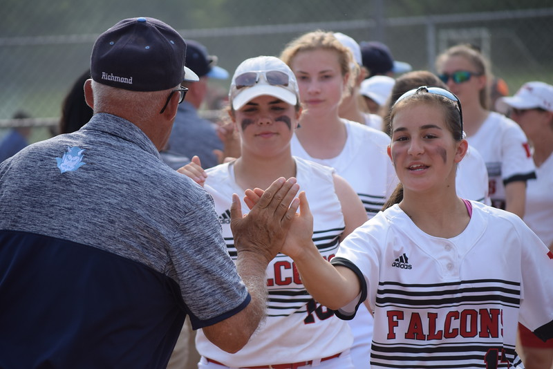 Richmond defeated Dearborn Divine Child 4-2 in eight innings in a state Division 2 quarterfinal game at Novi on June 13, 2017. The Blue Devils broke a 1-1 tie with three runs in the top of the eighth. (MIPrepZone photo gallery by George Pohly)