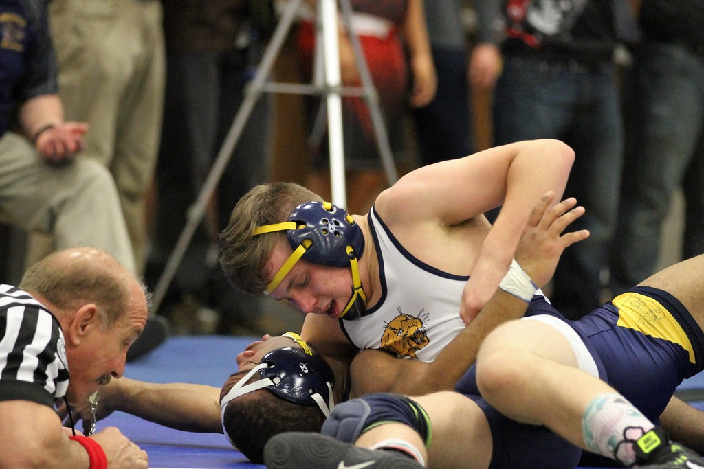 . Joshua Hettrick of Dearborn Heights-Annapolis pinned Warren Fitzgerald\'s Calvin Wade during their semifinal match in the 140 weight class. The division 2 individual regional was hosted by Warren Woods-Tower on February 17, 2018.  THE MACOMB DAILY PHOTO GALLERY BY GEORGE SPITERI