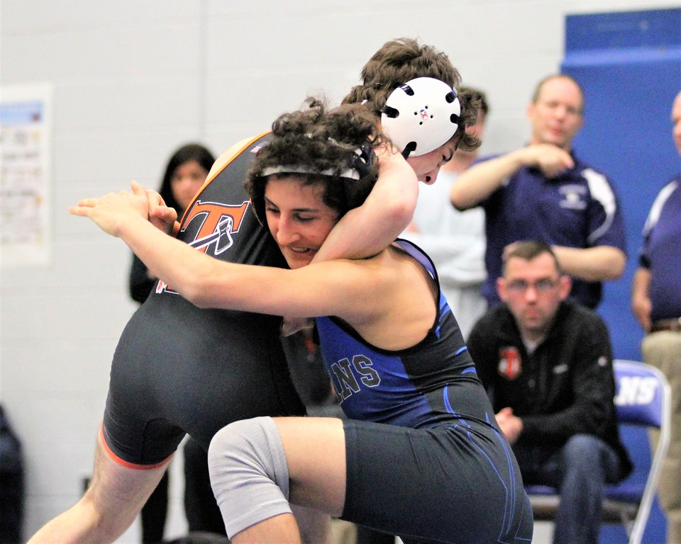 . Warren Woods-Tower\'s David Stepanian (blue) won his semifinal match in the 119 weight class. The division 2 individual regional was hosted by Warren Woods-Tower on February 17, 2018.  THE MACOMB DAILY PHOTO GALLERY BY GEORGE SPITERI