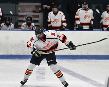 Max Hartwell taking a shot shortly after scoring a goal for the Chieftains to put them up 2-1. Utica and West Bloomfield hockey at Suburban Ice Arena on Friday, November 17, 2017. Macomb Daily Photo Gallery by George Spiteri.