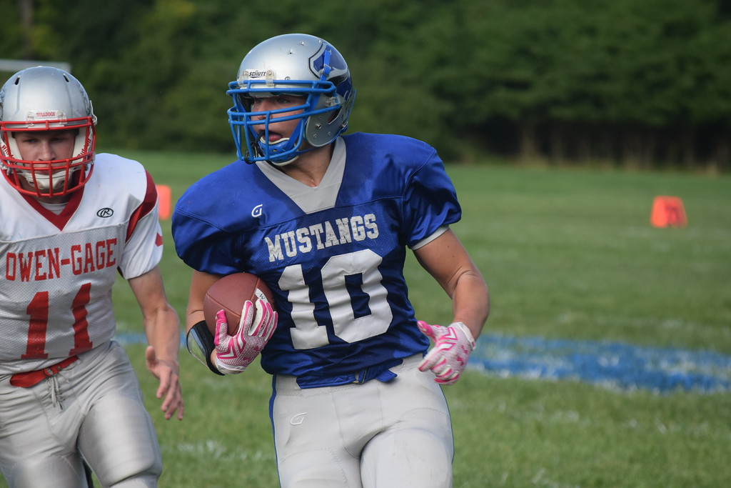 . Merritt Academy defeated visiting Owendale-Gagetown, 42-6, Friday night. It was the Mustangs\' second win in three outings. (The Macomb Daily photo gallery by Jim Evans)