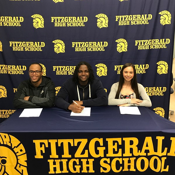 Three Fitzgerald student-athletes will be moving on to play in college. They are (from left to right) Kareem Wallace, football, Kalamazoo College; Mike Kizer, football, Dakota College at Bottineau; and Ashley Bane, softball, Schoolcraft Community College.