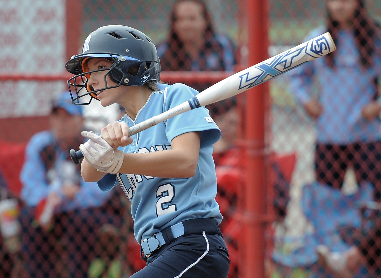 Samantha Christensen (2) of Richmond gets a hit during the match between Romeo and Richmond  on May 13, 2018. MACOMB DAILY PHOTO GALLERY BY DAVID DALTON