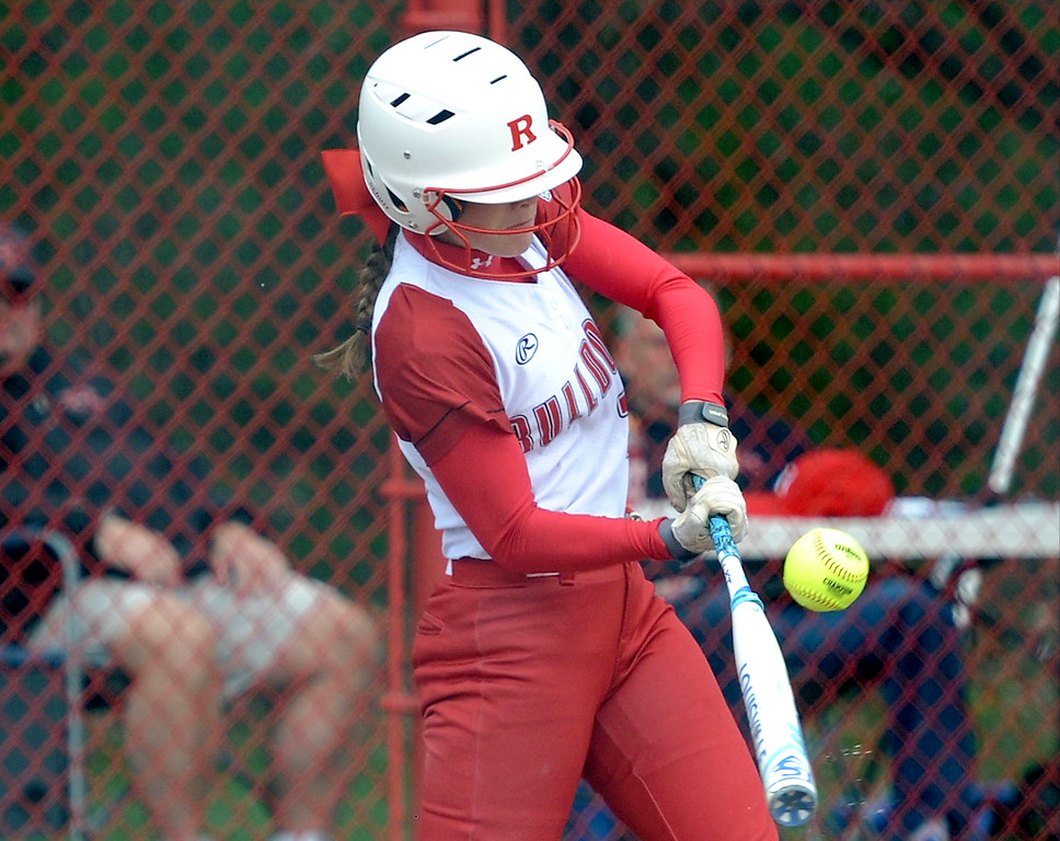 . Savanah Snarski (22) of Romeo gets a hit during the match between Romeo and Richmond  on May 13, 2018. MACOMB DAILY PHOTO GALLERY BY DAVID DALTON