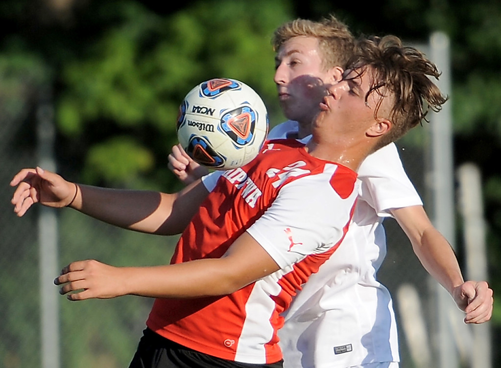 . Niko Kepi (24) of Chippewa Valley battles for control of the ball during the match between Romeo and Chippewa Valley on August 24, 2017.  THE MACOMB DAILY PHOTO GALLERY BY DAVID DALTON