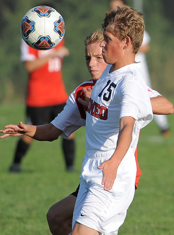 . Nick Maue (15) of Romeo battles for control of the ball during the match between Romeo and Chippewa Valley on August 24, 2017.  THE MACOMB DAILY PHOTO GALLERY BY DAVID DALTON