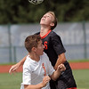 Ryan Danaj (6) of Romeo and Angelo Zeolla (26) of Utica Battle for control of the ball during the match between Romeo and Utica at Utica High School  on August 27, 2016. (MIPrepZone photo gallery by David Dalton)