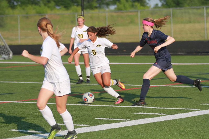 Lutheran North's Emma Murlick (5) scored the Mustangs' lone goal in Tuesday's 2-1 loss. (MIPrepZone photo gallery by Randy Castro)