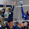 Kaylee McClellan (16) of South Lake spikes the ball during the match between South Lake and  North Branch at Clawson High School on November 15, 2016. (MIPrepZone photo gallery by David Dalton)