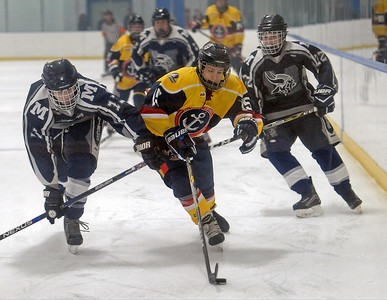 Jacob Berger battles for control of the puck  during the match between St. Clair Shores Unified and Marysville on January 5, 2019. THE MACOMB DAILY PHOTO GALLERY BY DAVID DALTON