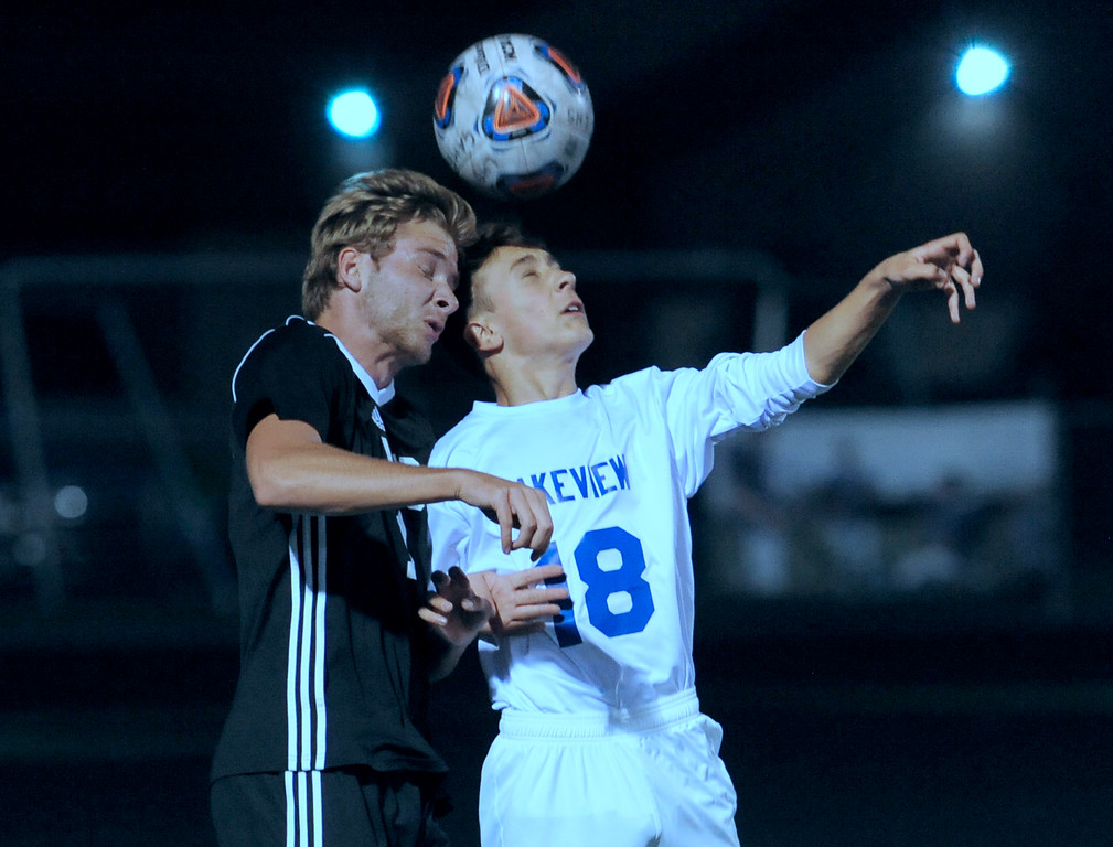 . Peter Milne (10) of Utica and Tyler Gerbasi (18) Lakeview battle for control of the ball during the match between Utica and Lakeview on October 9, 2017. THE MACOMB DAILY PHOTO GALLERY BY DAVID DALTON