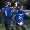 Jack Provencher (4) of Eisenhower scores a touch down during the first quarter of the match between Eisenhower and Mott at Utica High School on October 14, 2016 . (MIPrepZone photo gallery by David Dalton)