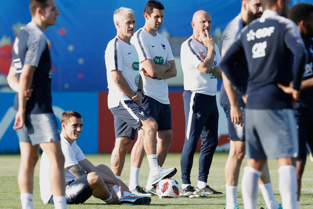 . France headcoach Didier Deschamps looks on during a training session at the 2018 soccer World Cup in Glebovets, Russia, Thursday, July 12, 2018. (AP Photo/David Vincent)
