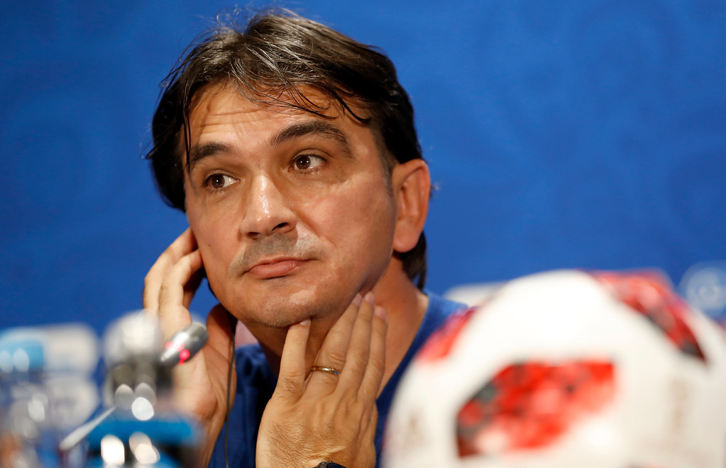 . Croatia head coach Zlatko Dalic listens to a question during a news a press conference at the 2018 soccer World Cup in Moscow, Russia, Thursday, July 12, 2018. (AP Photo/Darko Bandic)
