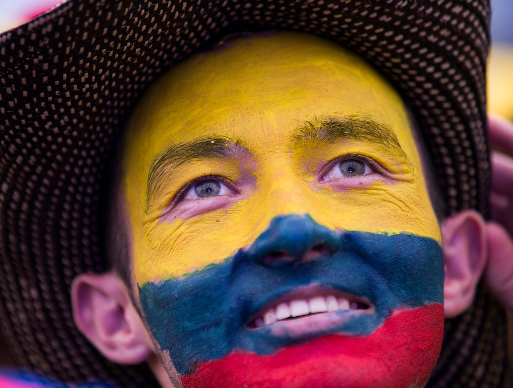 . A Colombia fan reacts watching the round of 16 match between Colombia and England on a big screen in a fan zone at the 2018 soccer World Cup in Moscow, Russia, Tuesday, July 3, 2018. (AP Photo/Alexander Zemlianichenko)