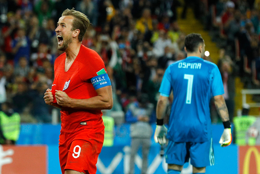 . England\'s Harry Kane celebrates after scoring his side\'s first goal during the round of 16 match between Colombia and England at the 2018 soccer World Cup in the Spartak Stadium, in Moscow, Russia, Tuesday, July 3, 2018. (AP Photo/Victor R. Caivano)