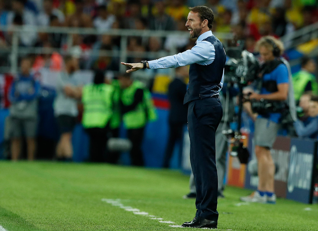 . England head coach Gareth Southgate gestures during the round of 16 match between Colombia and England at the 2018 soccer World Cup in the Spartak Stadium, in Moscow, Russia, Tuesday, July 3, 2018. (AP Photo/Alastair Grant)