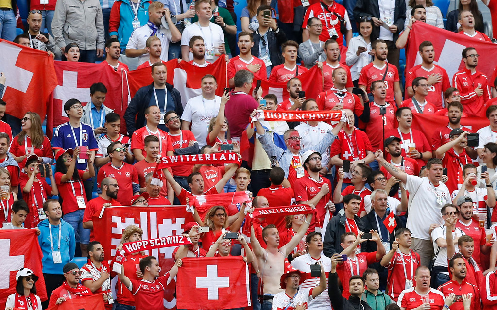. Switzerland\'s fans cheer prior of the round of 16 match between Switzerland and Sweden at the 2018 soccer World Cup in the St. Petersburg Stadium, in St. Petersburg, Russia, Tuesday, July 3, 2018. (AP Photo/Efrem Lukatsky)