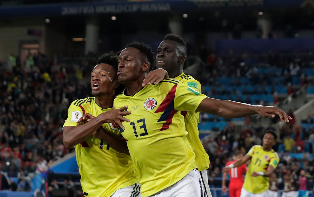 . Colombia\'s Yerry Mina celebrates after scoring his first side\'s goal during the round of 16 match between Colombia and England at the 2018 soccer World Cup in the Spartak Stadium, in Moscow, Russia, Tuesday, July 3, 2018. (AP Photo/Ricardo Mazalan)