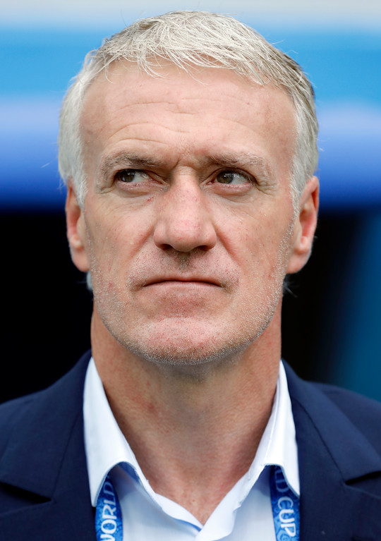 . France head coach Didier Deschamps attends the pre-match show for the quarterfinal match between Uruguay and France at the 2018 soccer World Cup in the Nizhny Novgorod Stadium, in Nizhny Novgorod, Russia, Friday, July 6, 2018. (AP Photo/David Vincent)