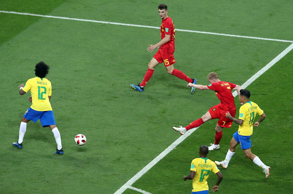 . Belgium\'s Kevin De Bruyne, 2nd right, scores his side\'s second goal during the quarterfinal match between Brazil and Belgium at the 2018 soccer World Cup in the Kazan Arena, in Kazan, Russia, Friday, July 6, 2018. (AP Photo/Thanassis Stavrakis)