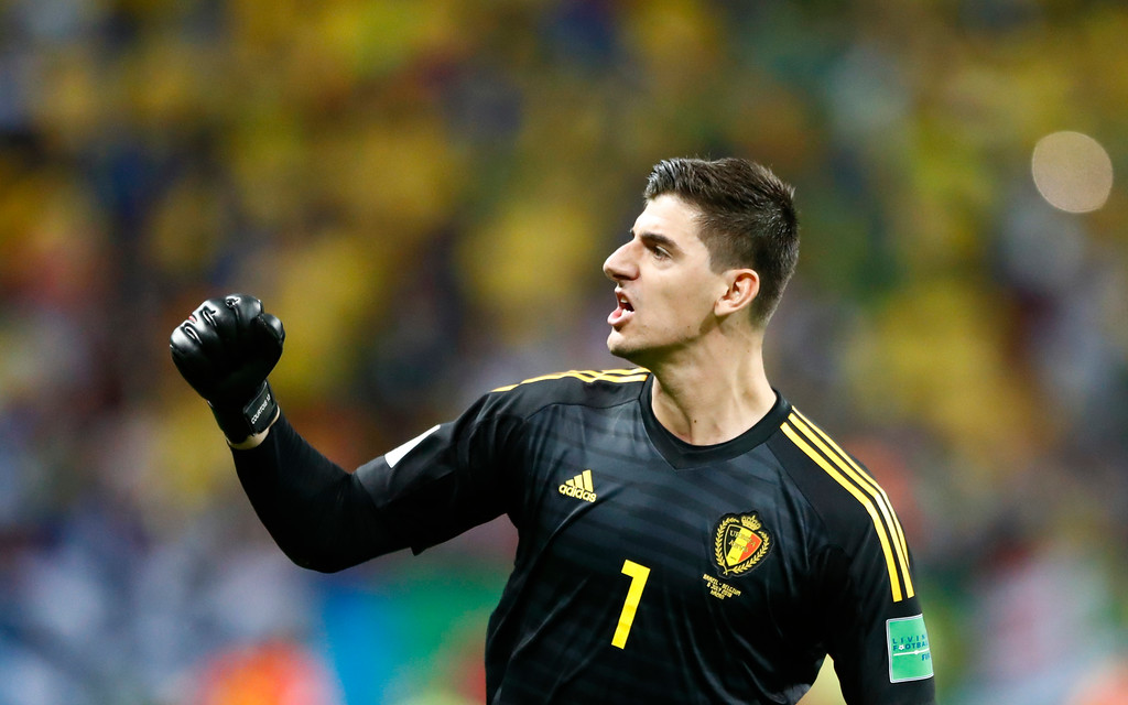. Belgium goalkeeper Thibaut Courtois celebrates after Belgium\'s Kevin De Bruyne score belgium\'s 2nd goal of the game during the quarterfinal match between Brazil and Belgium at the 2018 soccer World Cup in the Kazan Arena, in Kazan, Russia, Friday, July 6, 2018. (AP Photo/Matthias Schrader)