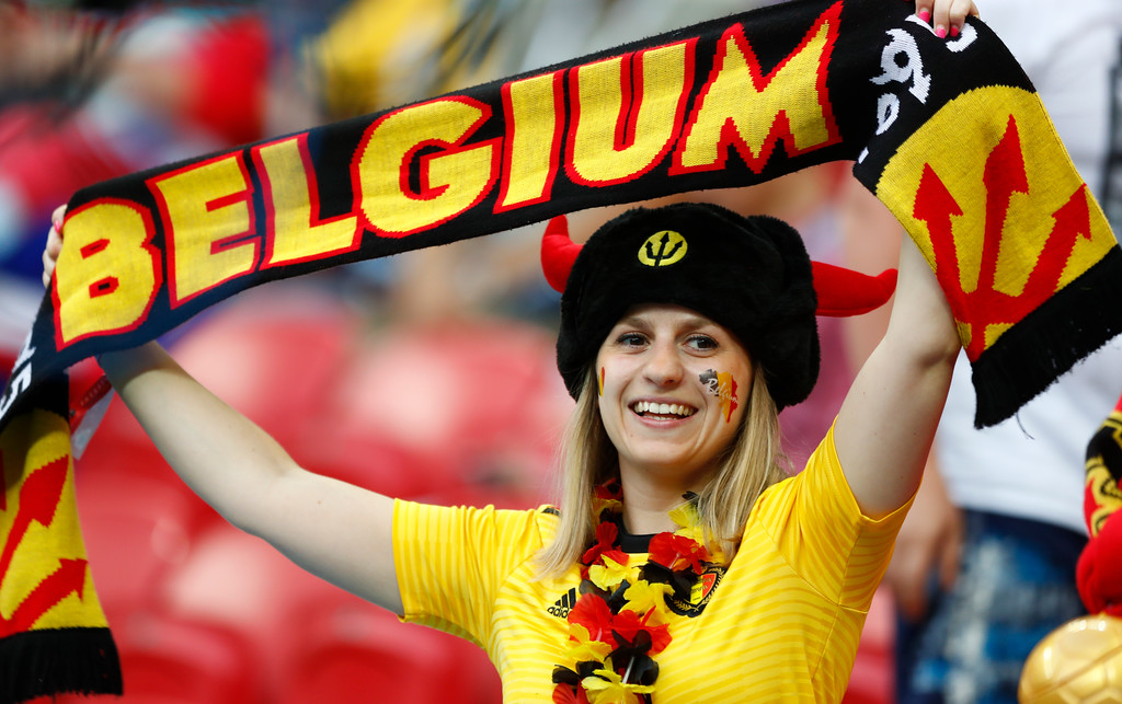 . A Belgian fan waits for the start of the quarterfinal match between Brazil and Belgium at the 2018 soccer World Cup in the Kazan Arena, in Kazan, Russia, Friday, July 6, 2018. (AP Photo/Matthias Schrader)