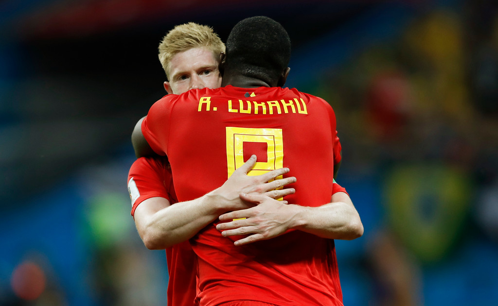 . Belgium\'s Kevin De Bruyne, left, celebrates after scoring his side\'s second goal during the quarterfinal match between Brazil and Belgium at the 2018 soccer World Cup in the Kazan Arena, in Kazan, Russia, Friday, July 6, 2018. (AP Photo/Francisco Seco)