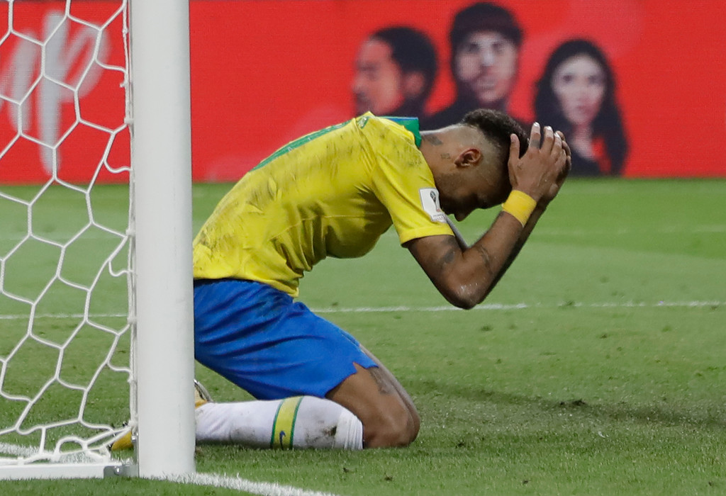 . Brazil\'s Neymar reacts following a missed scoring opportunity during the quarterfinal match between Brazil and Belgium at the 2018 soccer World Cup in the Kazan Arena, in Kazan, Russia, Friday, July 6, 2018. (AP Photo/Andre Penner)