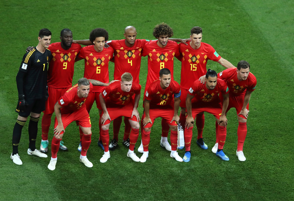 . Belgium players pose for photos before the quarterfinal match between Brazil and Belgium at the 2018 soccer World Cup in the Kazan Arena, in Kazan, Russia, Friday, July 6, 2018. (AP Photo/Thanassis Stavrakis)