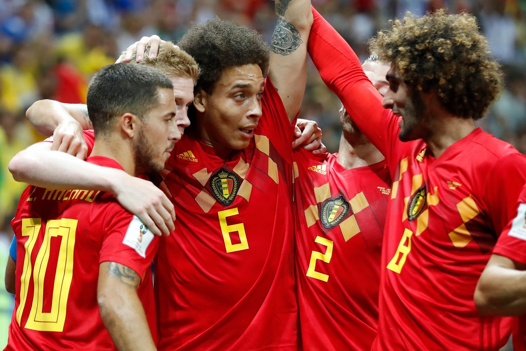 . Belgium team players celebrate after Kevin De Bruyne scored their side\'s second goal during the quarterfinal match between Brazil and Belgium at the 2018 soccer World Cup in the Kazan Arena, in Kazan, Russia, Friday, July 6, 2018. (AP Photo/Frank Augstein)