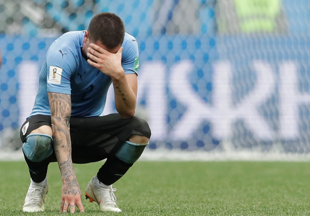 . Uruguay\'s Jose Gimenez reacts after his team loose the quarterfinal match between Uruguay and France at the 2018 soccer World Cup in the Nizhny Novgorod Stadium, in Nizhny Novgorod, Russia, Friday, July 6, 2018. (AP Photo/Petr David Josek)