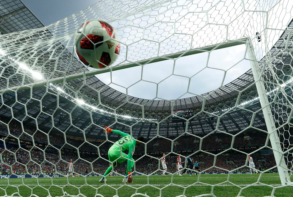 . Croatia goalkeeper Danijel Subasic reacts after France\'s Paul Pogba scored his side\'s third goal during the final match between France and Croatia at the 2018 soccer World Cup in the Luzhniki Stadium in Moscow, Russia, Sunday, July 15, 2018. (AP Photo/Martin Meissner)