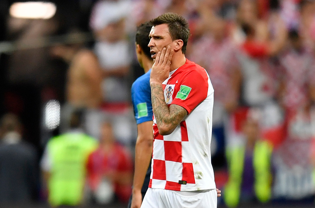 . Croatia\'s Mario Mandzukic reacts during the final match between France and Croatia at the 2018 soccer World Cup in the Luzhniki Stadium in Moscow, Russia, Sunday, July 15, 2018. (AP Photo/Martin Meissner)